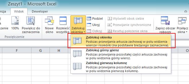 Jak zrobić w Excelu żeby pierwszy wiersz był zawsze widoczny - screen.