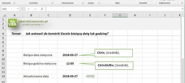 Excel - aktualna data i godzina