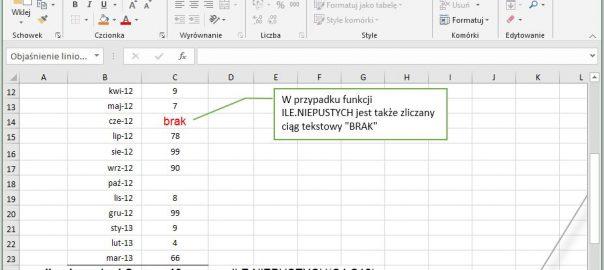 Excel - ile nie pustych komórek wierszy