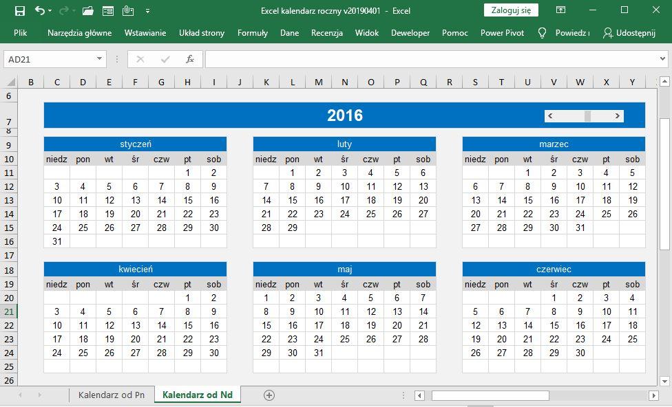Excel - kalendarz roczny