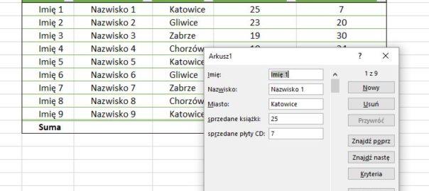 Formularze - Excel 2016 - prostsze wprowadzenie danych