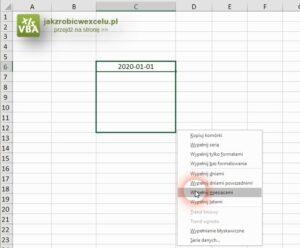 Lista dat Excel - metoda 1