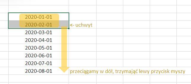 Lista dat Excel - metoda 2
