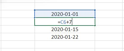 Lista dat Excel - metoda 3