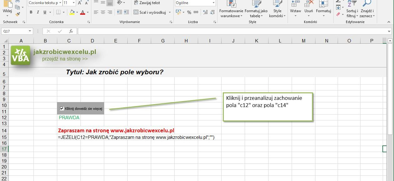 checkbox pole wyboru excel