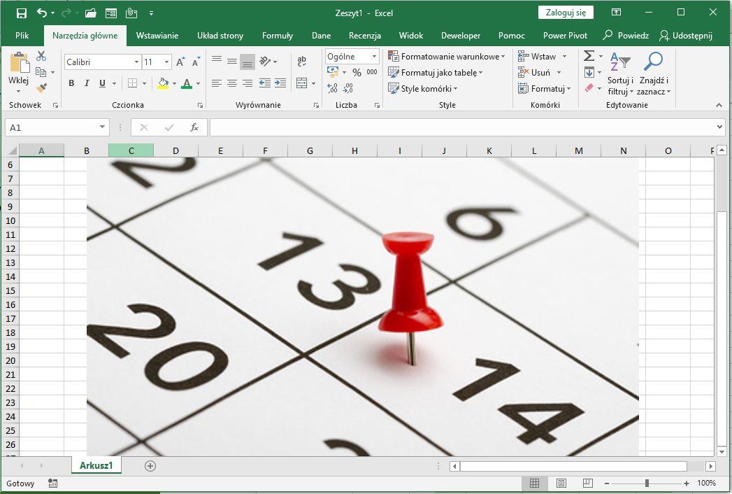 data - przeuniecie o dni robocze w Excel