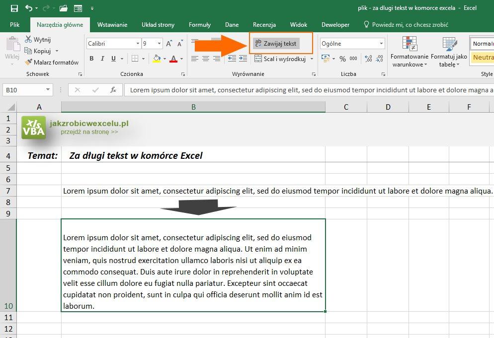 Długi tekst w komórce Excel - funkcja zwijaj tekst