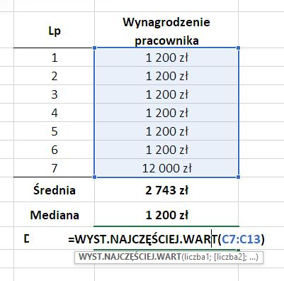 Dominanta w Excel - obliczenia