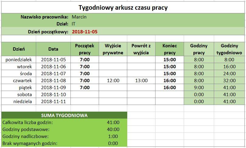 Ewidencja czasu pracy w Excel