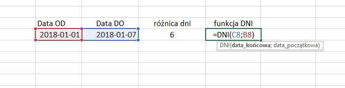 excel daty funkcja DNI