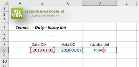 excel daty różnica w dniach