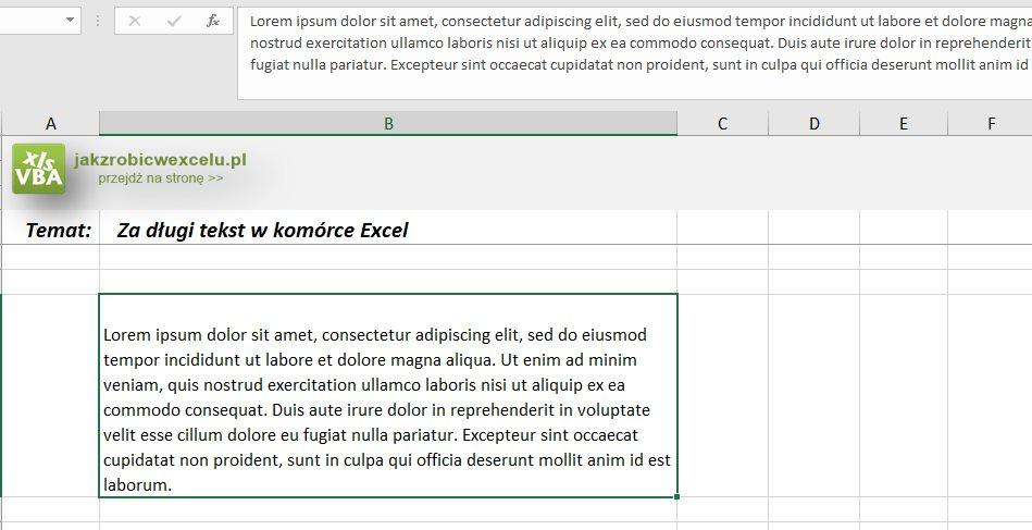 Excel - za długi tekst w komórce