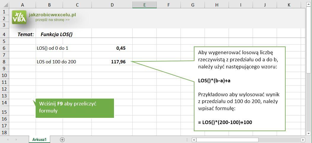 Funkcja LOS - losowanie w Excelu