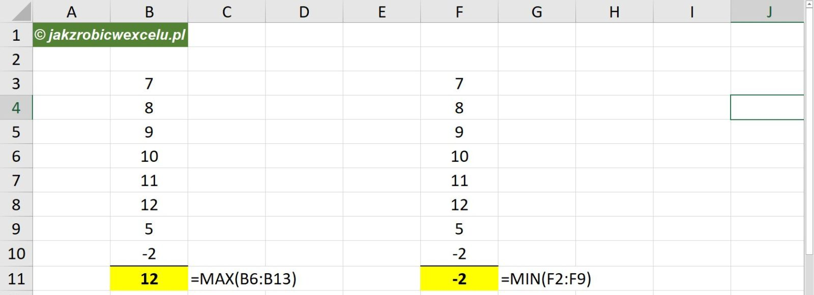 Funkcja min w Excelu