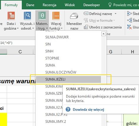 Funkcja SUMA.JEŻELI w Excelu - Screen 2
