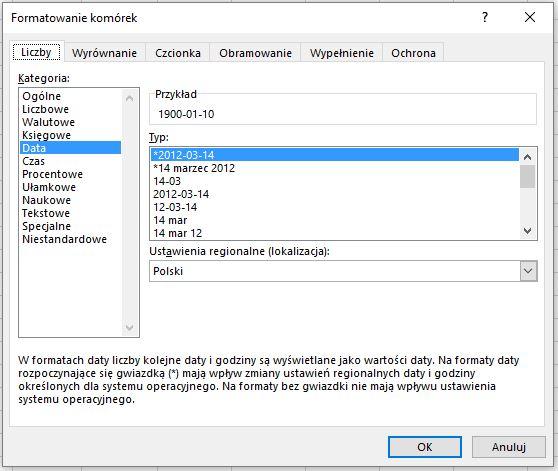 Formatowanie daty - Excel