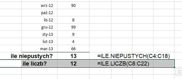 Excel - ile liczb - przykład