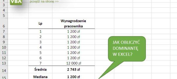 Jak obliczyć dominantę w Excel?