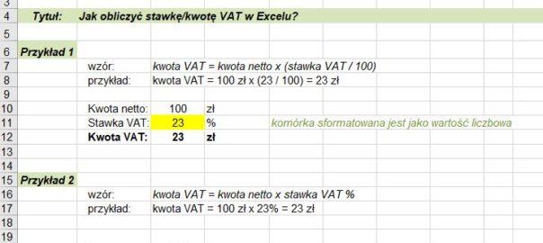 Jak obliczyć stawkę vat procent Excel - screen