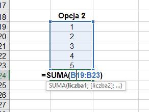Jak obliczyć sumę w Excelu - funkcja SUMA w Excelu - screen