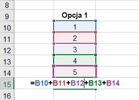 Jak obliczyć sumę w Excelu - proste dodawanie - screen