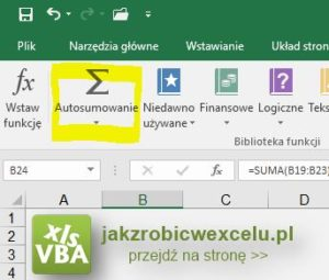 Jak obliczyć sumę w Excelu - przycisk w menu - screen
