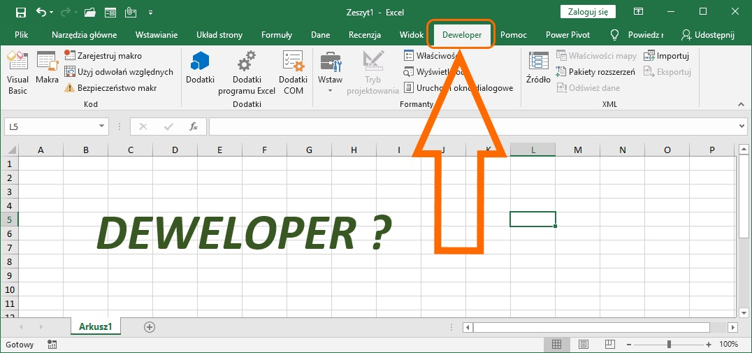 Jak włączyć zakładkę deweloper w Excel?