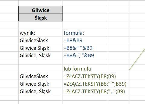 Jak złączyć teksty w Excelu