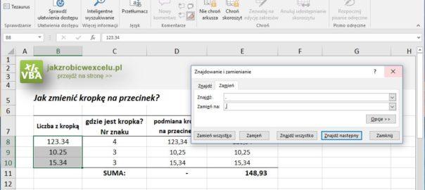 Zmiana kropki na przecinek w Excelu