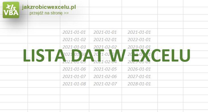 Jak zrobić listę dat w excel