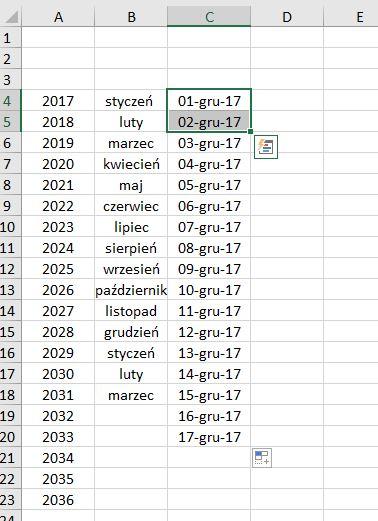 Przykładowa lista dat - screen