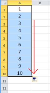 Jak zrobić w Excelu numerację - przeciągnij - Screen