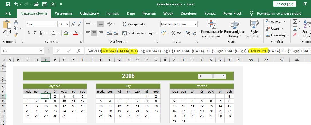 Kalendarz roczny w Excel - formuły