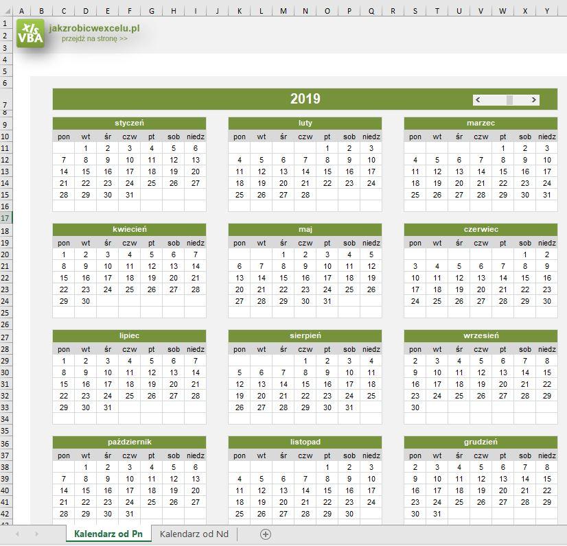 Kalendarz roczny w excelu - screen