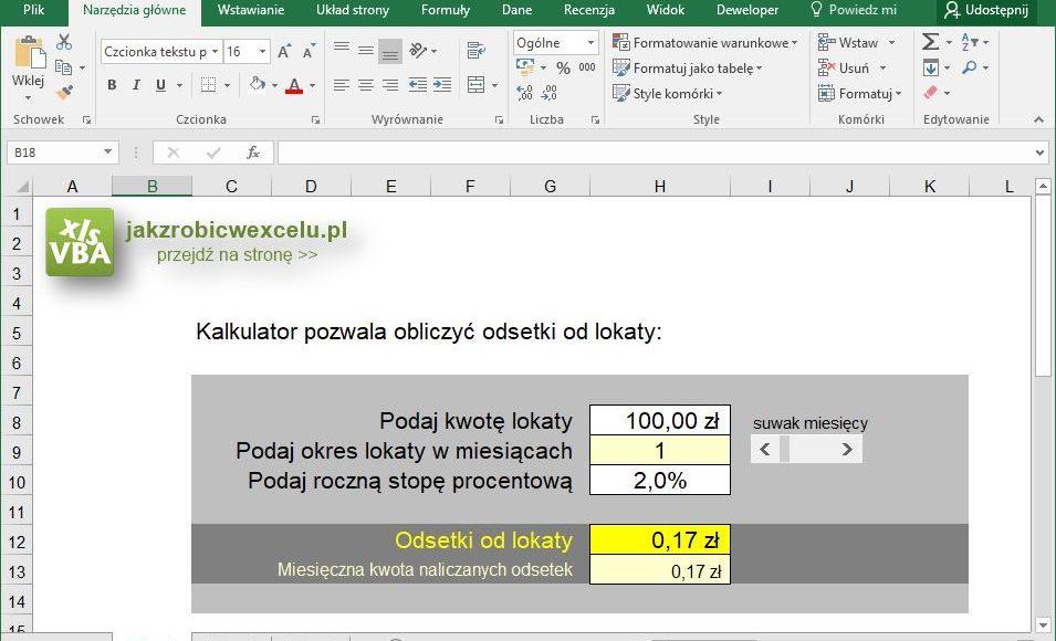 Kalkulator lokat Excel