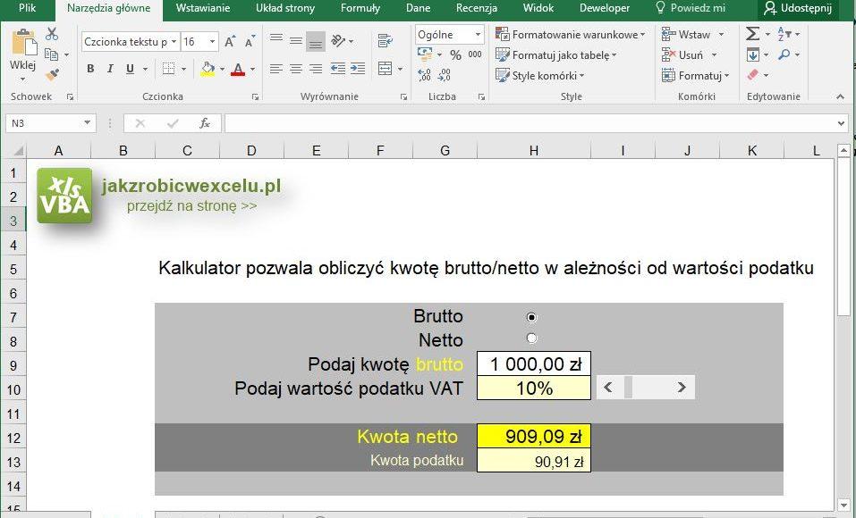 Kalkulator VAT w Excelu