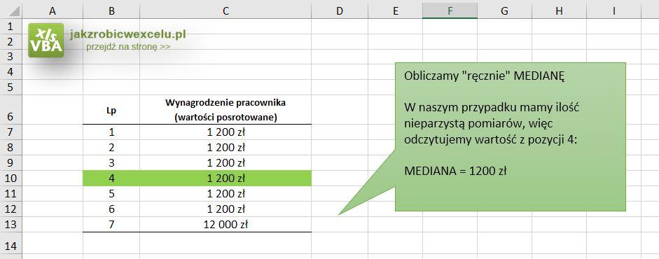 Mediana w Excel - funkcja statystyczna