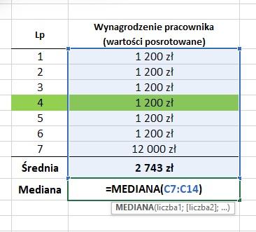 Mediana - funkcja Excel