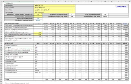 Roczna Ewidencja Czasu Pracy wersja 4 - screen 03