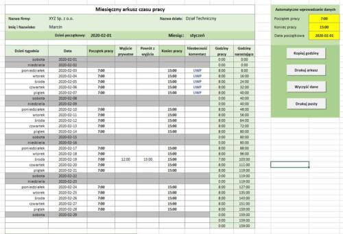 Arkusz czasu pracy - wersja 2