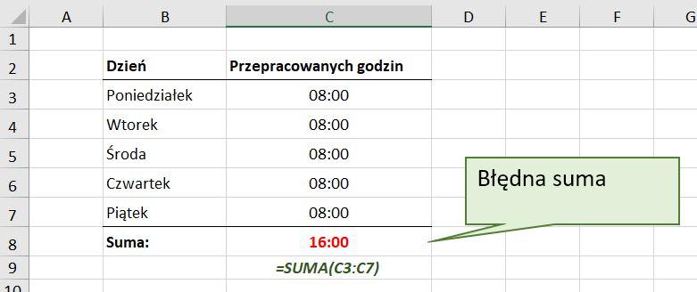 Problem z sumowaniem godzin w Excel - screen1