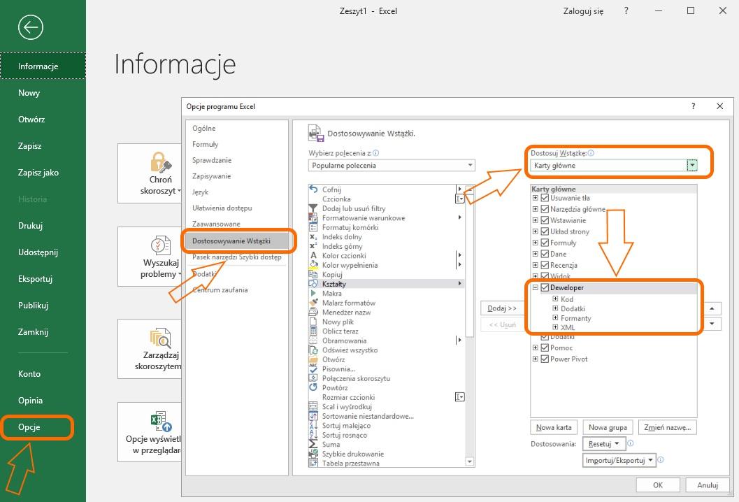 Proces włączania karty deweloper w Excelu