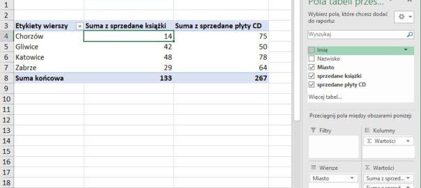 Tabela przestawna - Excel 2016
