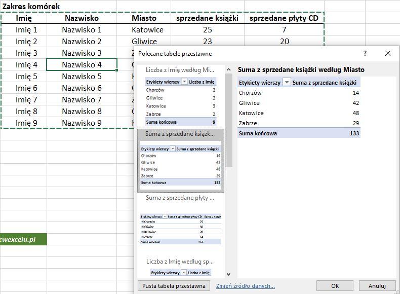 Tworzenie tabeli przestawnej automatycznie